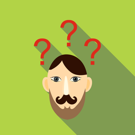 inquiry: Question brain icon. Flat illustration of question brain vector icon for web