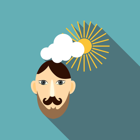 Calm man icon. Flat illustration of calm man vector icon for web