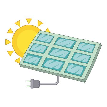 electricity meter: Solar battery icon. Cartoon illustration of solar battery vector icon for web Illustration