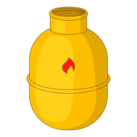 butane: Gas bottle icon. Cartoon illustration of gas bottle vector icon for web