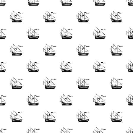 black maria: Columbus ship pattern, simple style Illustration