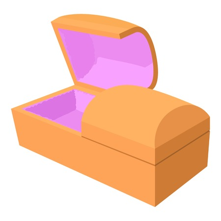 Opened coffin icon, cartoon style