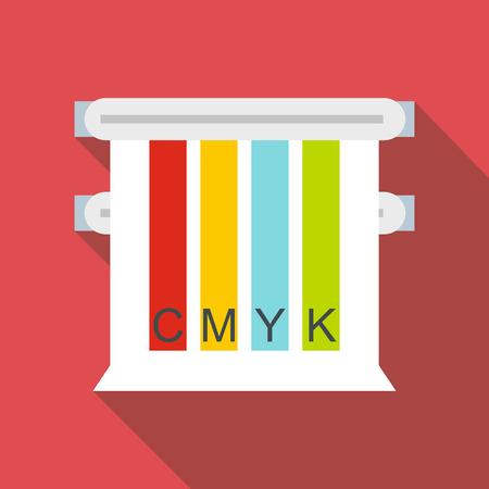 picker: Colored cmyk picker icon, flat style Illustration