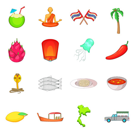 Thailand symbols icons set. Cartoon illustration of 16 Thailand symbols vector icons for web Illustration