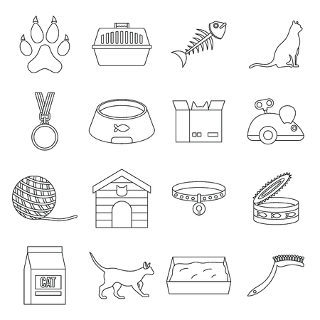 trough: Cat care tools icons set, outline style