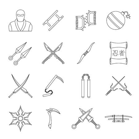 ninja tool: Ninja tools icons set, outline style