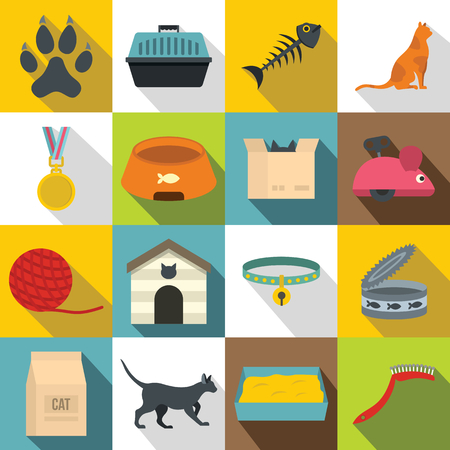 trough: Cat care tools icons set, flat style Illustration