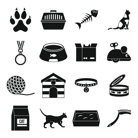 trough: Cat care tools icons set, simple style