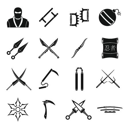 ninja tool: Ninja tools icons set, simple style