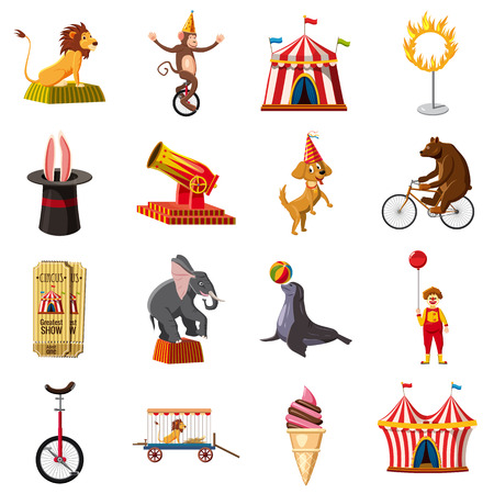 fire and ice: Circus symbols icons set, cartoon style
