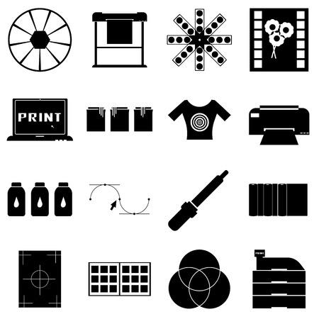 offset printer: Print items icons set, simple style