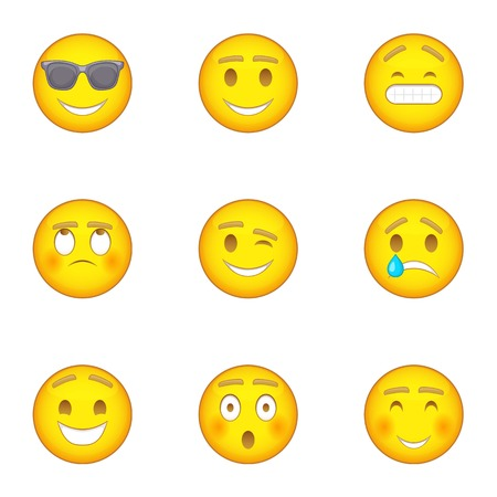 Emoji character icons set, cartoon style