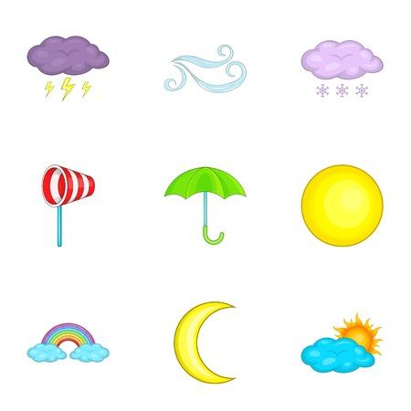 windsock: Weather icons set, cartoon style