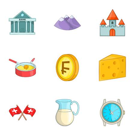 frank: Switzerland national cultural symbols icons set