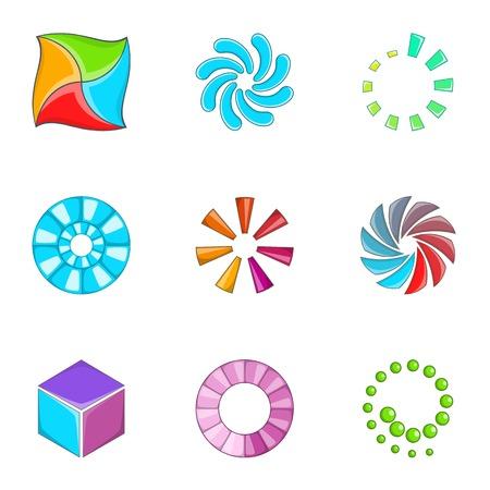 Loading indicators icons set, cartoon style Illustration