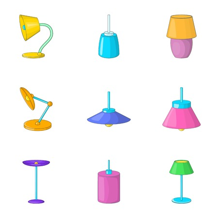 Lamp light icons set, cartoon style Illustration