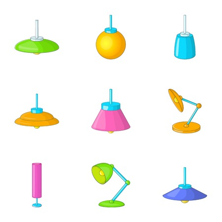 Lamp icons set, cartoon style Illustration