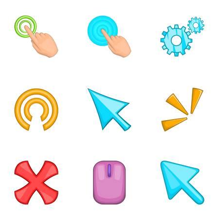 help section: Cursor pointer icons set, cartoon style Illustration