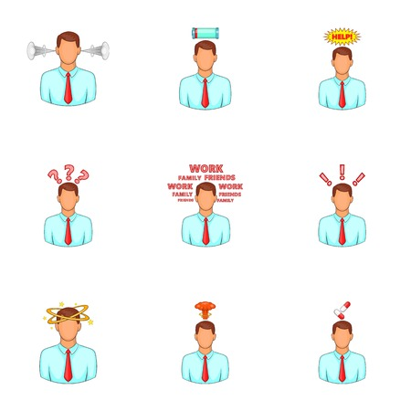 emotional stress: Businessman stress pressure icons set
