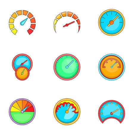 Speedometer or gauge icons set, cartoon style Illustration