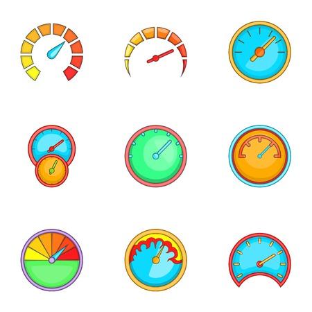 Speedometer or gauge icons set, cartoon style Illustration