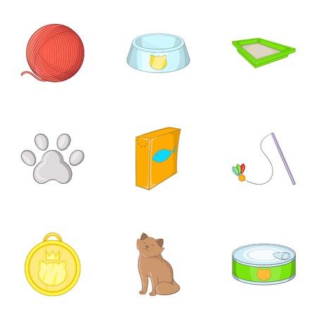 toy toilet bowl: Pet shop icons set, cartoon style Illustration