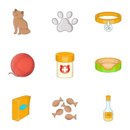 can food: Happy cat icons set, cartoon style