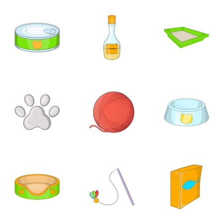 toy toilet bowl: Caring for a cat icons set, cartoon style Illustration