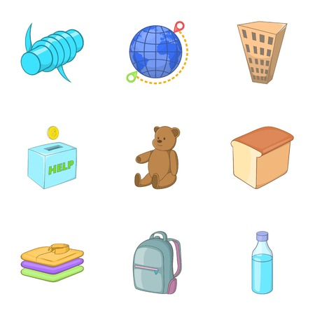 Refugee crisis icons set, cartoon style Illustration