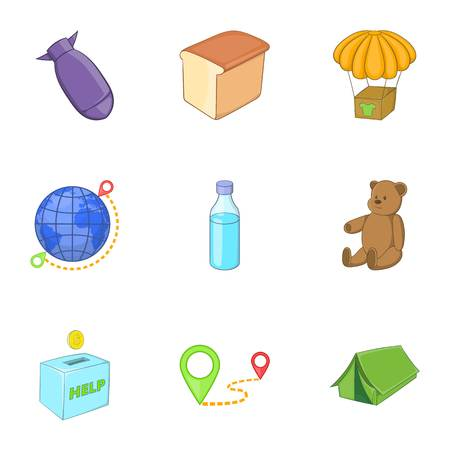 Problems of immigrants icons set, cartoon style Illustration