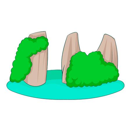 Rocks in the sea icon, cartoon style Иллюстрация