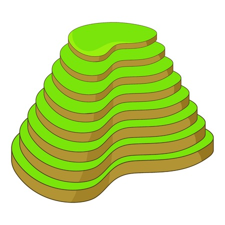 Rijst terrassen pictogram, cartoon stijl