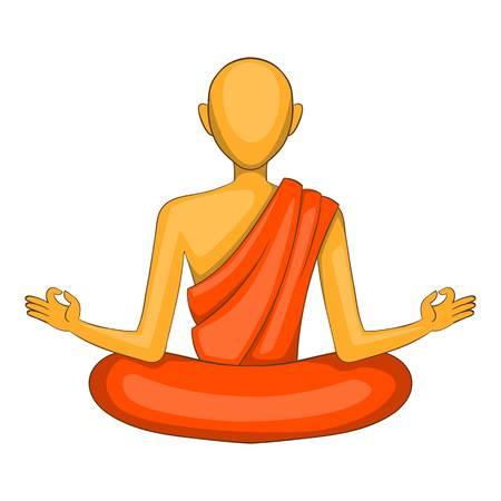 buddism: Buddhist monk icon, cartoon style