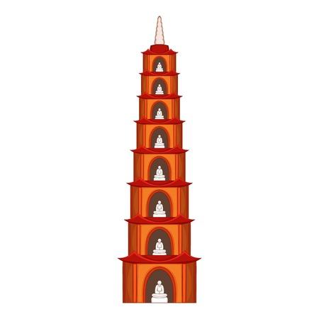 Tran Quoc Pagoda in Hanoi icon, cartoon style Illustration