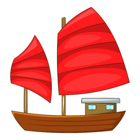 Junk boat with red sails icon, cartoon style Illustration