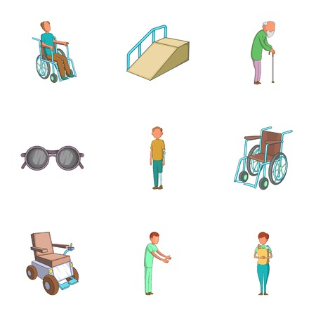impaired: Accessibility icons set. Cartoon illustration of 9 accessibility vector icons for web