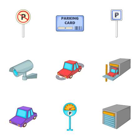 Parking station icons set. Cartoon illustration of 9 parking station vector icons for web
