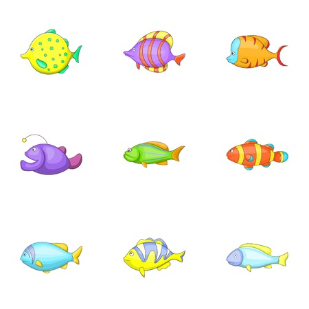dorado: Tropical fish icons set. Cartoon illustration of 9 tropical fish vector icons for web
