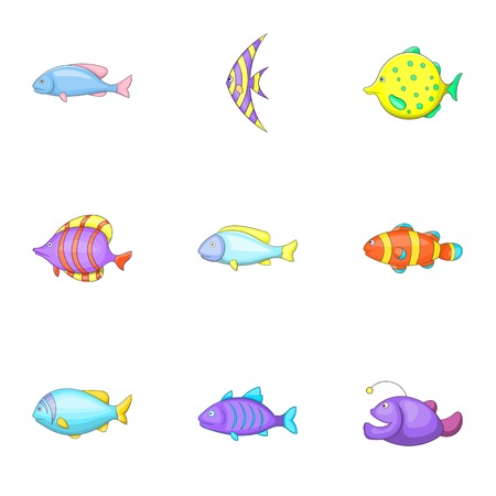 Marine fish species icons set. Cartoon illustration of 9 marine fish species vector icons for web Illustration