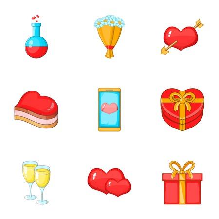 elixir: Conjunto de iconos de amor. Ilustración de dibujos animados de 9 iconos de vector de amor para web