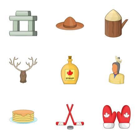 Canadian symbols icons set. Cartoon illustration of 9 Canadian symbols vector icons for web Illustration