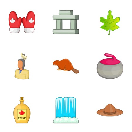 Travel to Canada icons set. Cartoon illustration of 9 travel to Canada vector icons for web