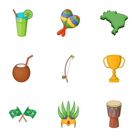 Symbols of Brazil icons set. Cartoon illustration of 9 symbols of Brazil vector icons for web