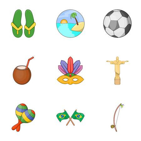 Brazil icons set. Cartoon illustration of 9 Brazil vector icons for web
