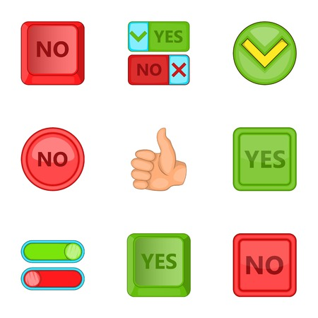 yes no: Yes and no sign icons set. Cartoon illustration of 9 yes and no sign vector icons for web