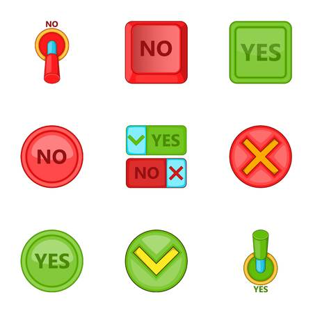 yes no: Yes and no button icons set. Cartoon illustration of 9 yes and no button vector icons for web Illustration
