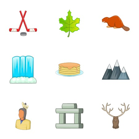 Canadian culture icons set. Cartoon illustration of 9 Canadian culture vector icons for web