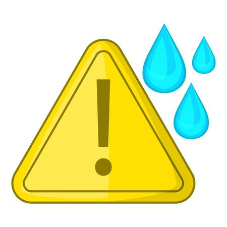 yellow beware: Warning sign and drops icon. Cartoon illustration of warning sign and drops vector icon for web design