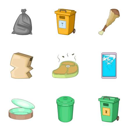 Trash for recycling icons set. Cartoon illustration of 9 trash for recycling vector icons for web Illustration