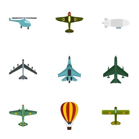 combat: Combat aircraft icons set. Flat illustration of 9 combat aircraft vector icons for web Illustration